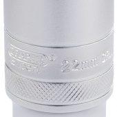 "1/2"" Sq. Dr. 6 Point Metric Deep Socket (22mm)"