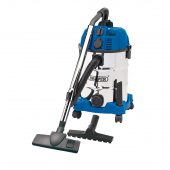 30L Wet and Dry Vacuum Cleaner with Stainless Steel Tank and Integrated 230V Power Out-Take Socket (1300W)