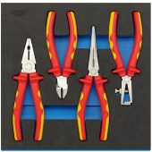 VDE Approved Fully Insulated Plier Set in 1/2 Drawer EVA Insert Tray (4 Piece)