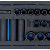 "1/2"" Sq. Dr. Impact Socket Set in 1/4 Drawer EVA Insert Tray (20 Piece)"