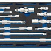 Extension Bar, Universal Joints and Socket Convertor Set 1/4 Drawer EVA Insert Tray (16 Piece)