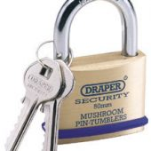 50mm Solid Brass Padlock and 2 Keys with Mushroom Pin Tumblers Hardened Steel Shackle and Bumper