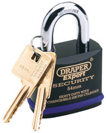 54mm Heavy Duty Padlock and 2 Keys with Super Tough Molybdenum Steel Shackle