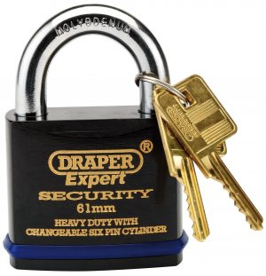 61mm Heavy Duty Padlock and 2 Keys with Super Tough Molybdenum Steel Shackle