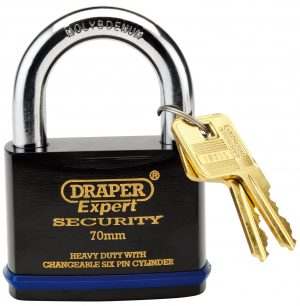 70mm Heavy Duty Padlock and 2 Keys with Super Tough Molybdenum Steel Shackle