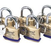 Pack of 6 x 40mm Solid Brass Padlocks with Hardened Steel Shackle
