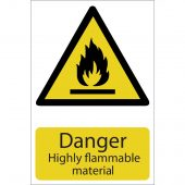 'Danger Flammable Material' Hazard Sign