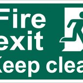 Fire Exit Keep Clear' Safety Sign