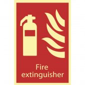 Glow In The Dark 'Fire Extinguisher' Fire Equipment Sign
