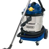50L 110V Wet and Dry Vacuum Cleaner with Stainless Steel Tank and 110V Power Tool Socket (1500W)