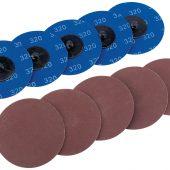 Ten 75mm 320 Grit Aluminium Oxide Sanding Discs