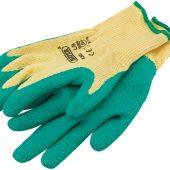 Heavy Duty Latex Coated Work Gloves, Large, Green
