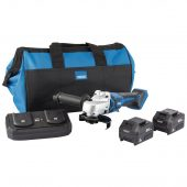 D20 20V 115mm Brushless Grinder Kit with 2 x 3.0Ah Batteries, Twin Charger and Bag